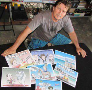 Luiz explica que os temas e a direção de arte das charges partem da redação do Tempo Novo.  A partir daí o desenho toma traços e formas