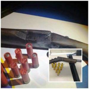 Uma espingarda calibre 12 com nove munições sendo duas deflagradas e sete intactas. Foto: Divulgação