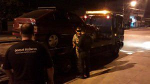 Veículo apreendido em Serra Dourada III participava de um campeonato clandestino de som. Foto: Divulgação PMS