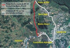 O Contorno do Mestre Álvaro vai tirar parte do tráfego pesado de veículos da zona urbana da Serra. Imagem: Google Earth / Arte: Joatan Alves