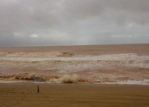 Aspecto da praia de Regência na manhã desta terça (24) . Foto: Divulgação