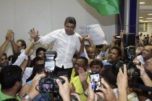Após votar pelo impeachment, Vidigal foi recebido como herói no Estado. Foto: Divulgação