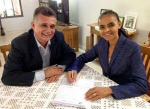 Audifax e Marina estiveram juntos em Brasília em outubro do anos passado, na ocasião o prefeito da Serra migrou do PSB para o Rede Sustentabilidade. Foto: Divulgação