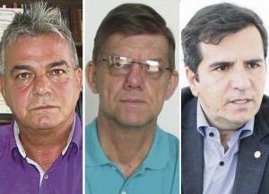 Gideão Svensson (PR), Nicodemos Venturini (PPL) e Givaldo Vieira (PT) apostam no voto dos eleitores indecisos. Fotos: Arquivo TN