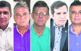 Vidigal, Venturini, Gideão, Givaldo e Audifax são os candidatos a prefeito. Foto: Arquivo TN